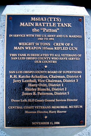 M60A3 Patton Battle Tank Plaque